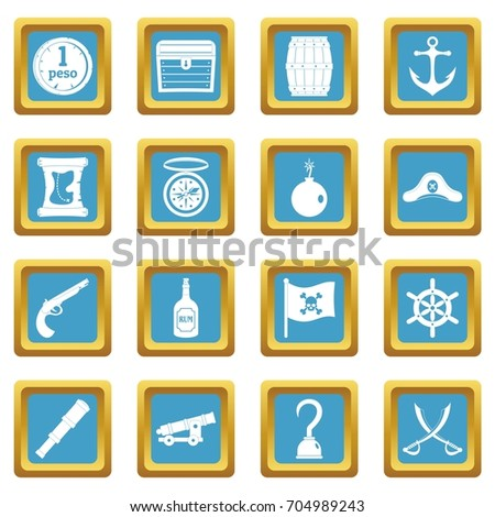 pirate icons set in azur color