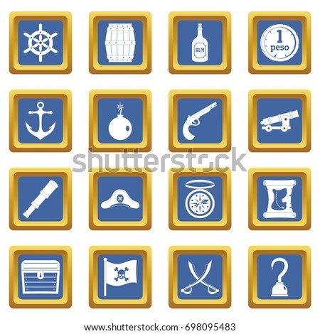 pirate icons set in blue color
