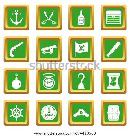 pirate icons set in green color