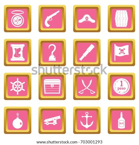 pirate icons set in pink color