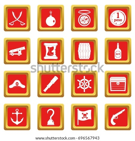 pirate icons set in red color