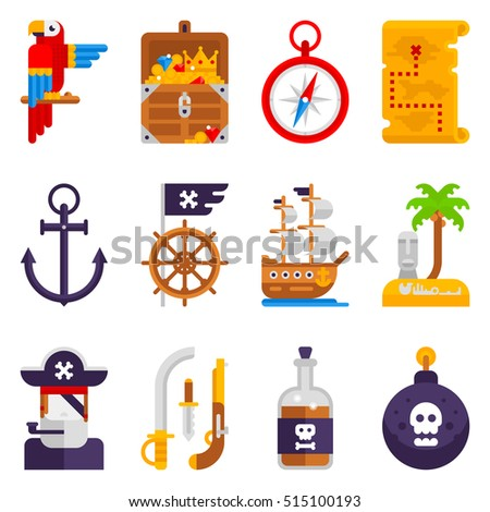 pirate icons set isolated on