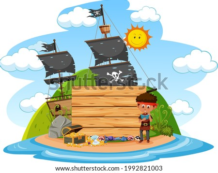 Pirate island with an empty banner isolated on white background illustration