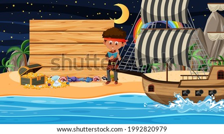 Pirate kids at the beach night scene with an empty wooden banner template illustration