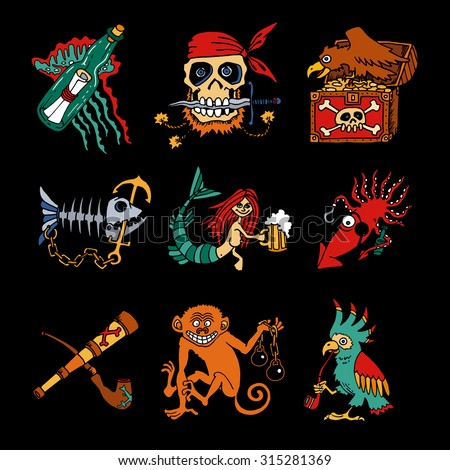 Pirate Legends cartoon icons on black background. Decorative hand-made illustrations for posters, stickers, fantasy map.