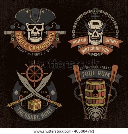 pirate logo  emblem with skulls