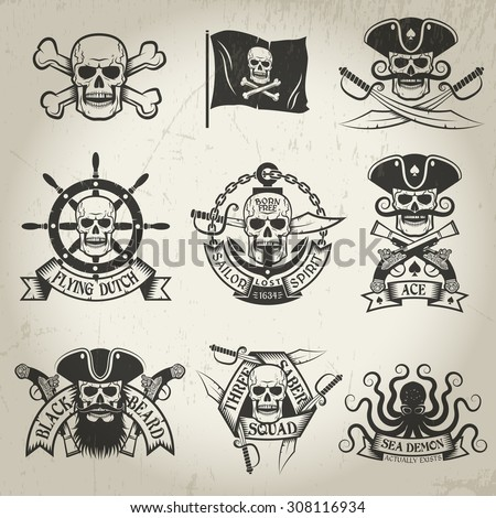 pirate logo set jolly roger