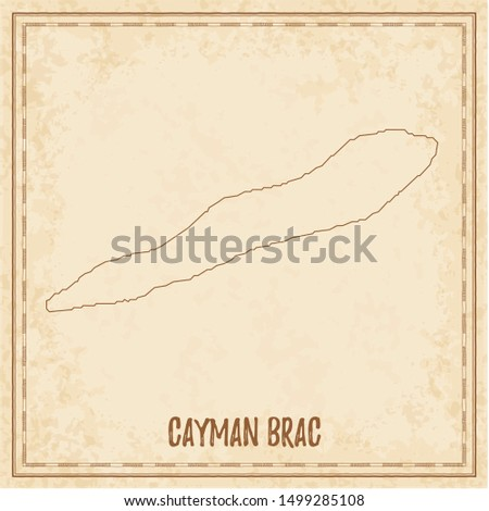 Pirate map of Cayman Brac. Blank vector map of the Island. Vector illustration.