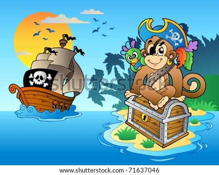 pirate monkey and chest on