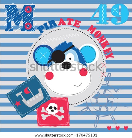 pirate monkey invitation card vector illustration