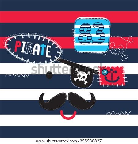 pirate on striped background