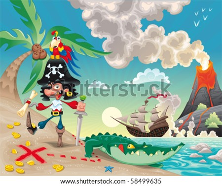 Pirate on the island Funny cartoon and vector scene.