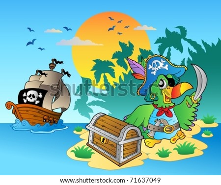 pirate parrot and chest on