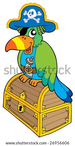 Pirate parrot sitting on chest - vector illustration.