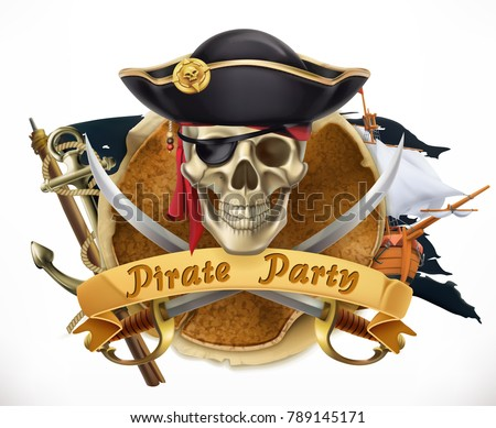 pirate party 3d vector emblem