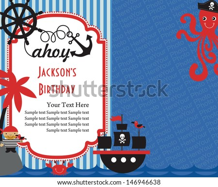 Pirate illustration vectors download free vector art stock pirate party invitation card with place for photo vector illustration stopboris