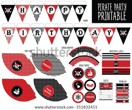 pirate party set printable