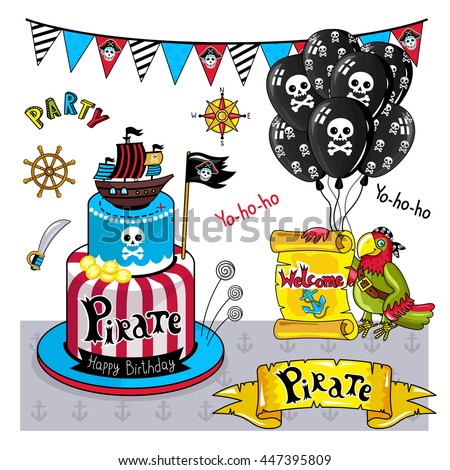 pirate party vector elements