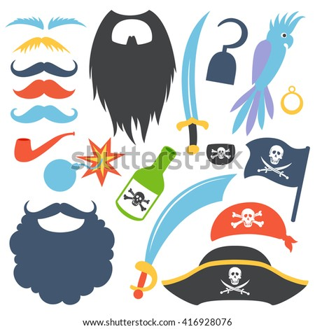 Pirate photo booth props set. Party corsair birthday. Cocked hat, beard, eyecup, mustache, saber, rum bottle,  bomb, parrot, hook. Vector illustration