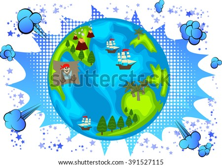 pirate planet with islands and