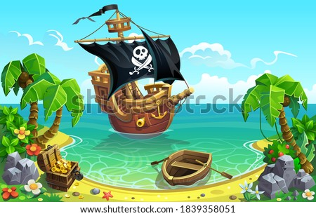 Pirate sailing ship and treasure chest in the bay of a tropical island with palm trees. Foto stock ©