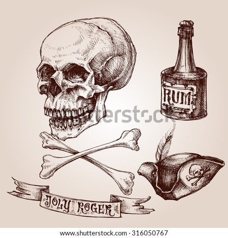 pirate set  skull and