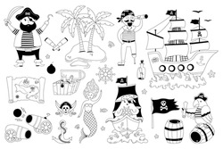 Pirate set with sail ship, palm, mermaid, pirates, map, octopus on a white background. Hand-drawn vector illustration of cute pirate objects. It's perfect for greeting cards, posters, room decoration.