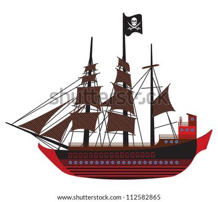 Pirate Ship Vector Pirate Ship Stock Vector Sunken Ship Drawing Tattoo Xoloitzcuintli Miniatura