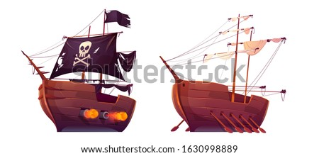 Pirate ship and slave galley with oars isolated on white background. Wooden boats with black and white sails, shooting cannons and jolly roger flag. Old battleship, barge. cartoon Vector illustration Stockfoto ©
