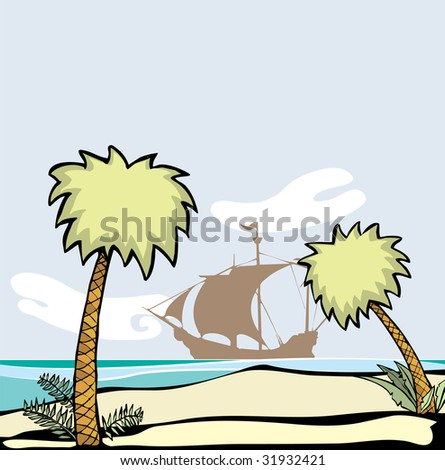 Pirate ship at anchor off the shore of a deserted island with palm trees.