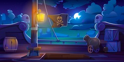 Pirate ship deck onboard night view, wooden boat with cannon, glow lantern, wood barrels, hold entrance, mast with ropes and jolly roger flag on dark seascape background, cartoon vector illustration