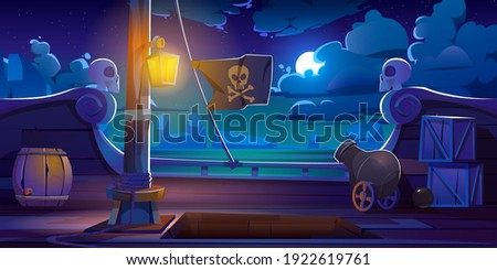Pirate ship deck onboard night view, wooden boat with cannon, glow lantern, wood barrels, hold entrance, mast with ropes and jolly roger flag on dark seascape background, cartoon vector illustration Сток-фото ©