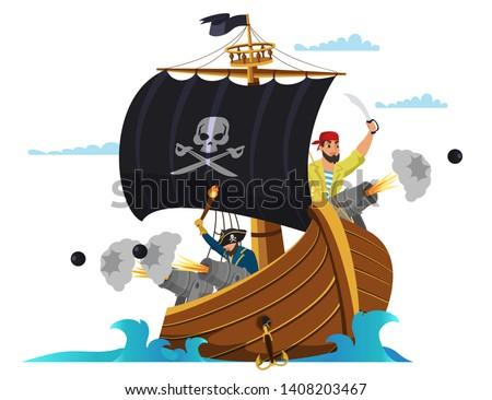 pirate ship flat vector