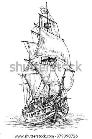 pirate ship   hand drawn vector