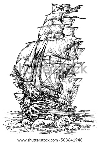 pirate ship   hand drawn vector