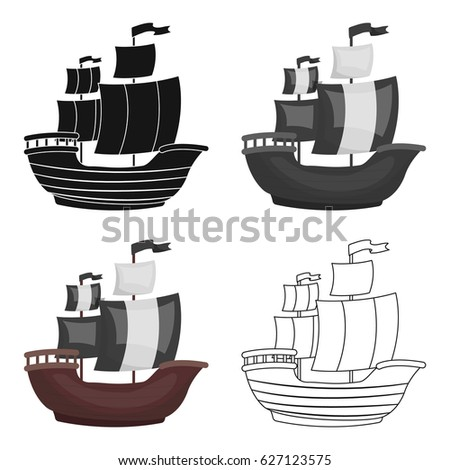 pirate ship icon in cartoon