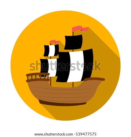 pirate ship icon in flat style