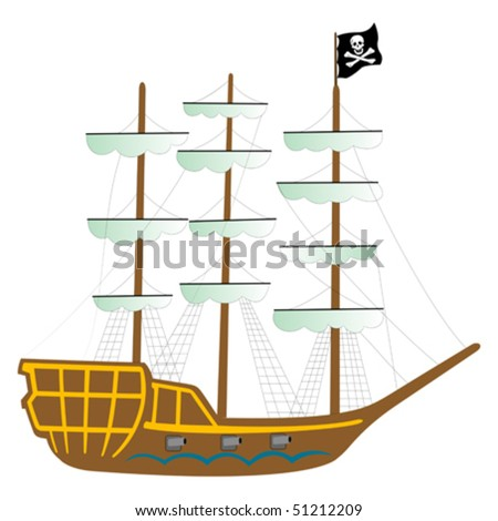pirate ship isolated on white