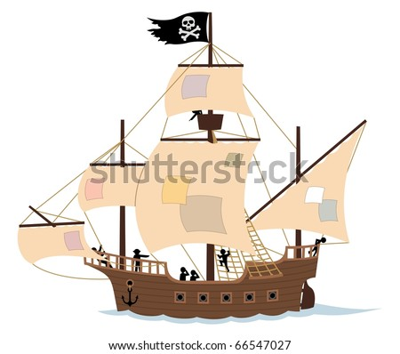 Pirate Ship on White: A pirate ship, isolated on white. Remove the patches from the sails, and the Jolly Roger, and you get an ordinary sail ship. No transparency and gradients used.