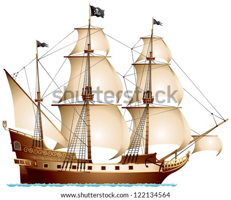 Pirate Ship, sailing ship under the Jolly Roger black flag