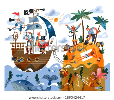 Pirate ship sailing to island with sailors digging treasure. Captain with parrot and sailors on ship in sea or ocean, pirates digging gold and money. Adventure and marine piracy vector illustration.
