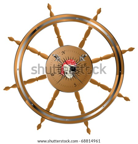 Pirate ship steering wheel with pirate skull