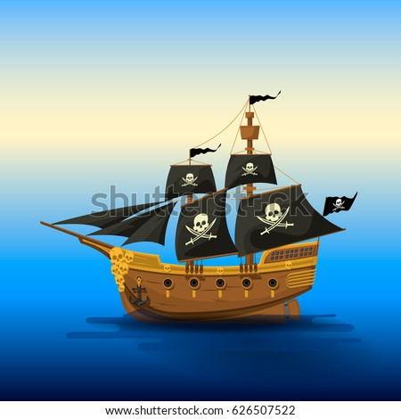 Pirate ship with black sails