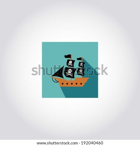 Pirate Ship Symbol Pirate Ship With Jolly Roger