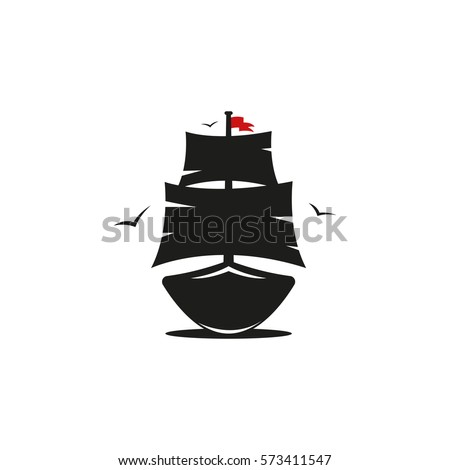 pirate ship with red flag