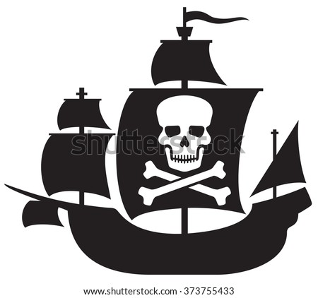 pirate ship with skull with