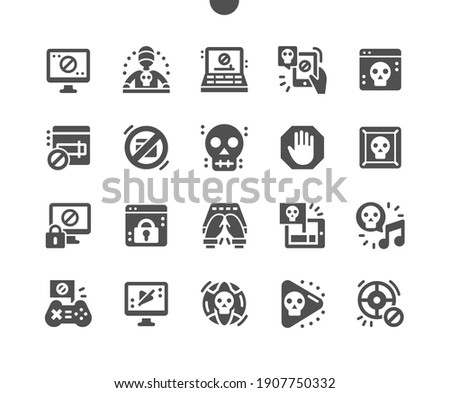 Pirate sites. Application blocked. Hacking software. Computer failure. Pirate games and music. Dark net. Vector Solid Icons. Simple Pictogram Foto stock ©