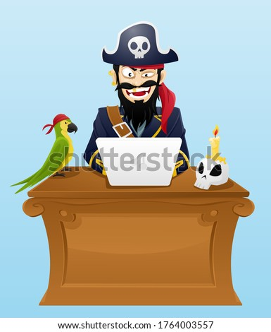 pirate sits with laptop at desk