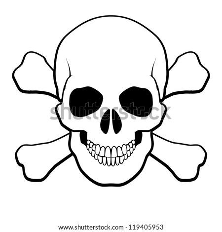 Pirate Skull and Crossbones. Illustration on white background