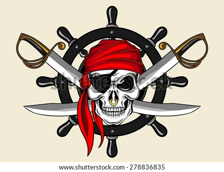 pirate skull and wheel